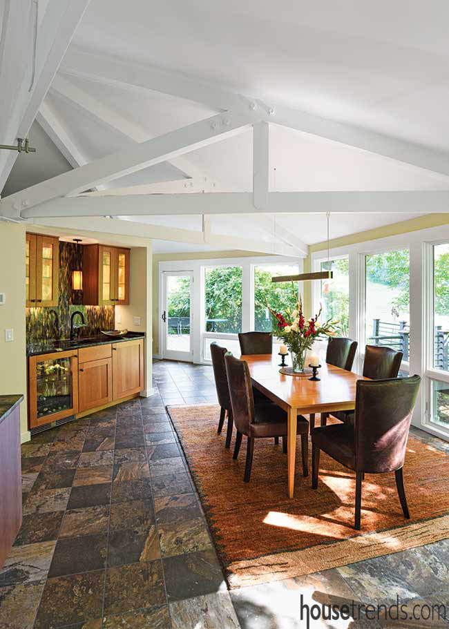 Casual dining area leads to an open deck