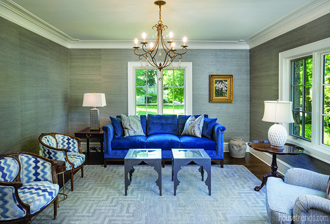 This formal living room is a study in blue.