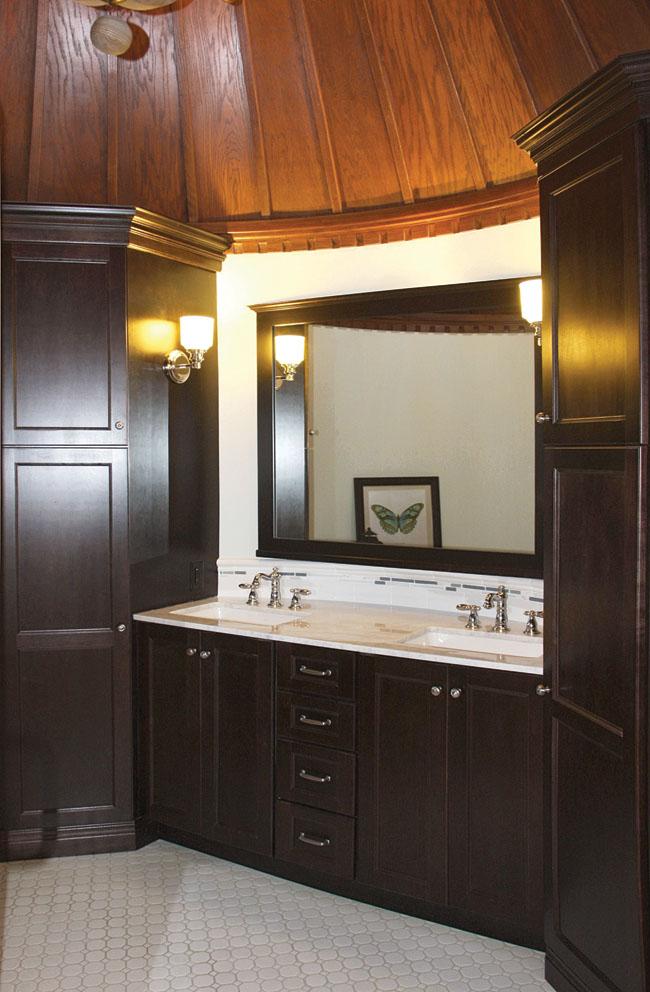 Powder room vanity adds storage and color contrast