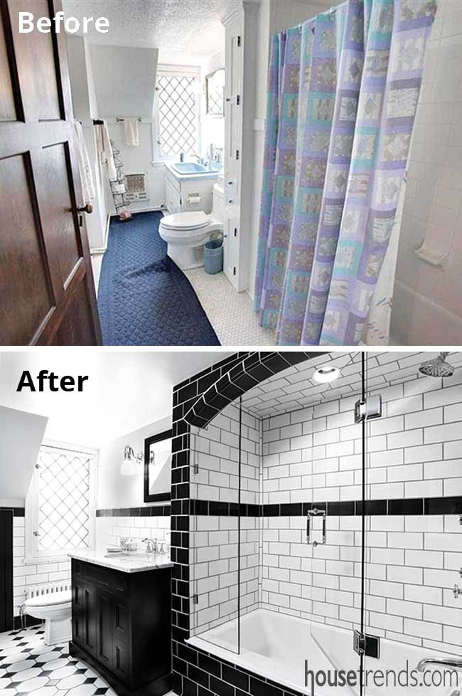 Bathroom remodel with black and white tile