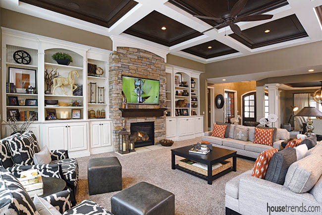 Stone fireplace adds warmth to a great room