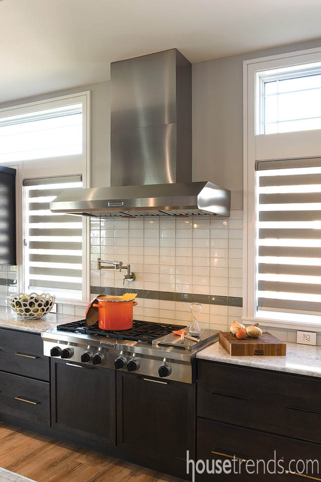 Subway tile creates a sleek backsplash