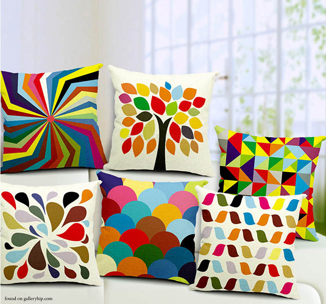 Bright throw pillows add personality