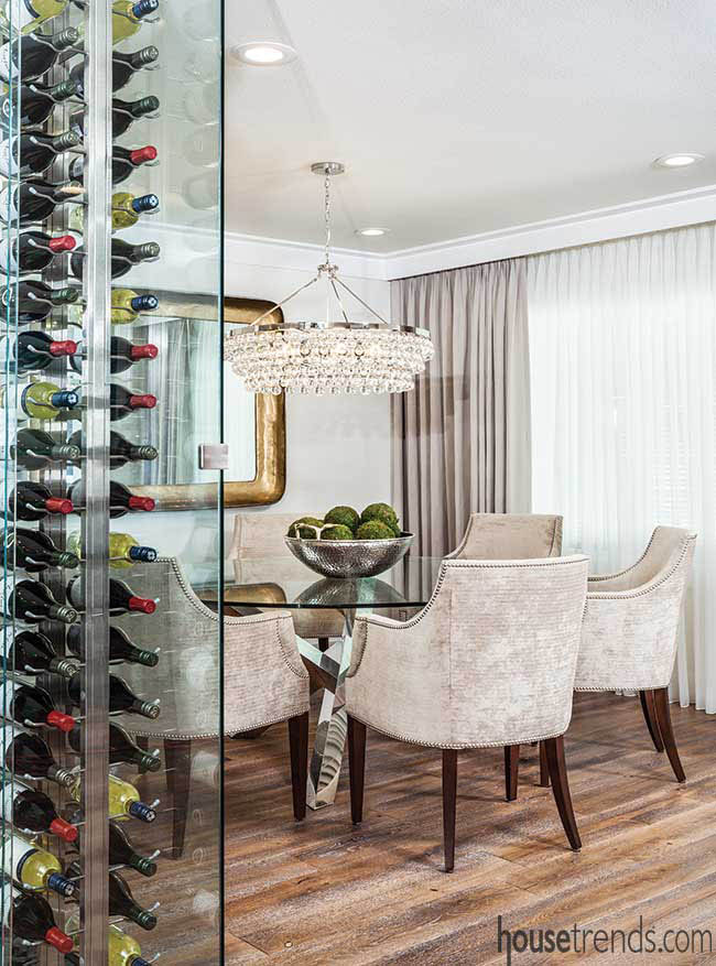 Light fixture adds sparkle to a dining room