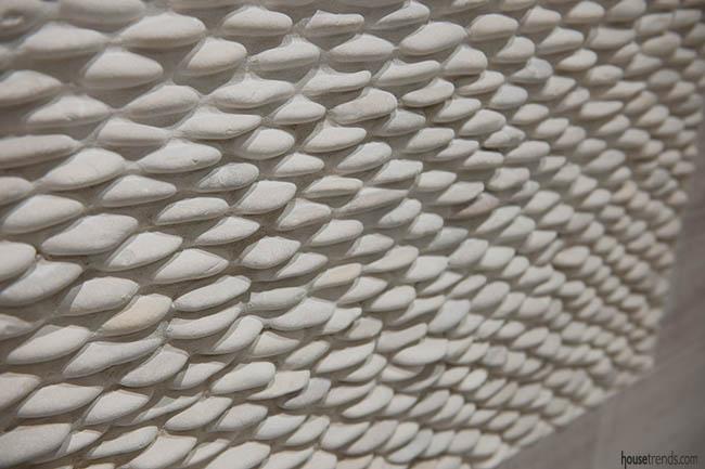 Pebbles add interest to a bathroom design