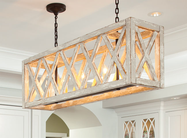 Modern light fixtures add a creative flair
