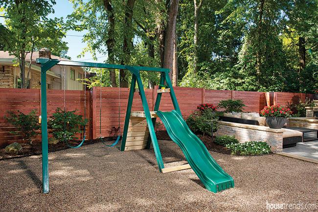 Cedar fencing adds privacy to a back yard