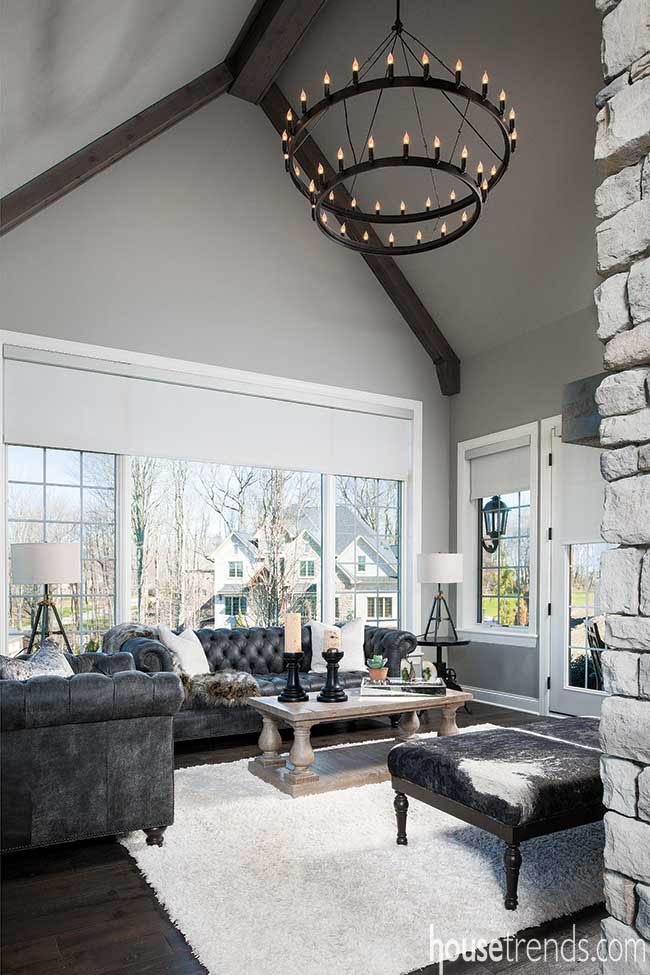 Sunroom boasts a vaulted ceiling