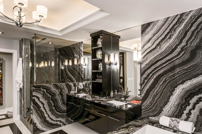 Bathroom vanity cabinet shines bright