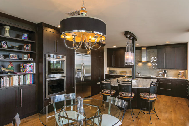 Contemporary furniture helps to set the tone in this kitchen