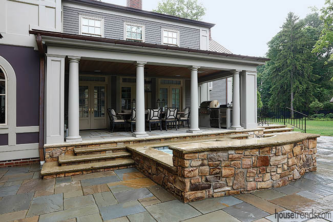 Loggia dominates a backyard design