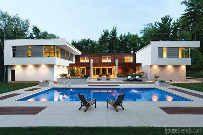 Contemporary home boasts a swimming pool