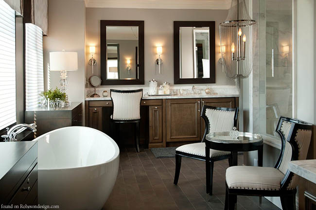 Furniture dresses up a bathroom design