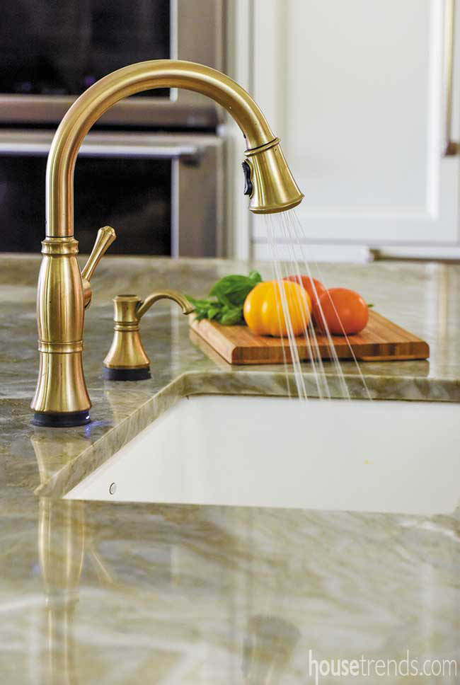 Bronze faucet adds elegance to a kitchen