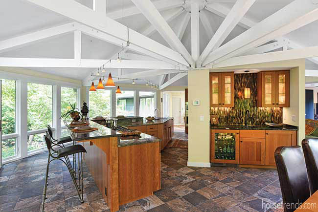Heated floors in a kitchen and dining space