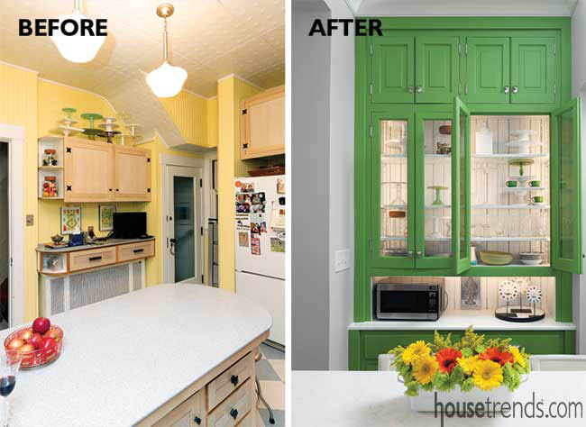 Green hutch sparkles in a kitchen remodel