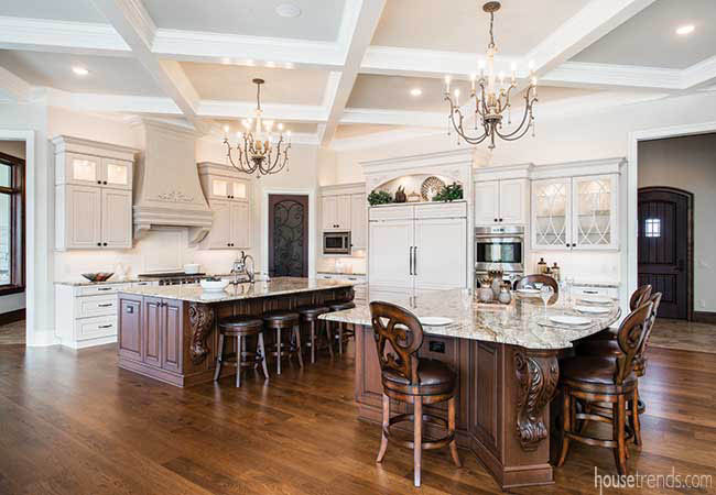 Kitchen islands offer plenty of prep space