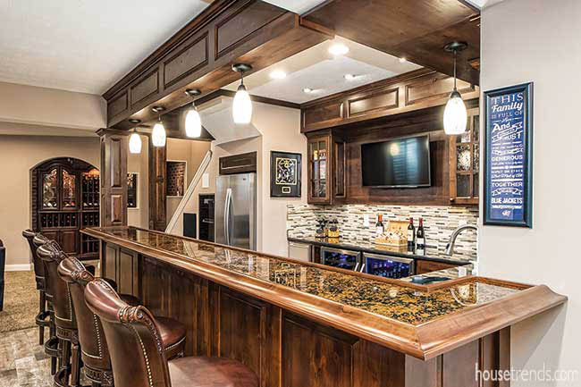 Hickory cabinets in a lower level bar
