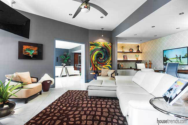 Colorful art spices up a living room