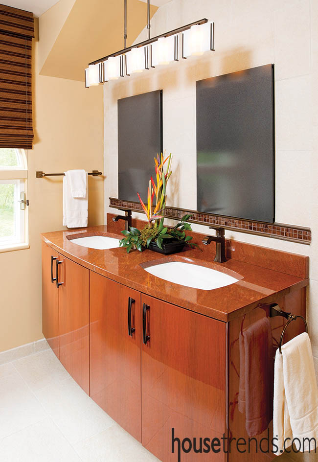 Bathroom vanity boasts two sinks