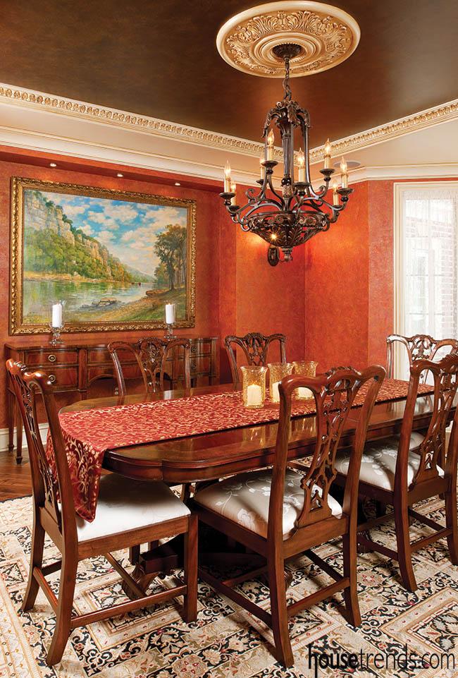 Chandelier lights up a formal dining room