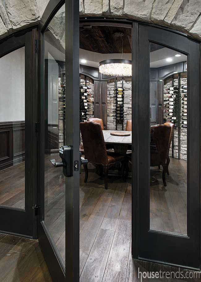 Furniture adds cozy touch to a wine room