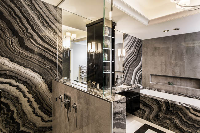 Bathroom tile helps to calm a bold bathroom design