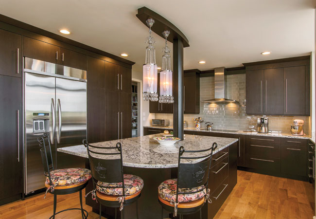 Kitchen island serves as natural gathering space