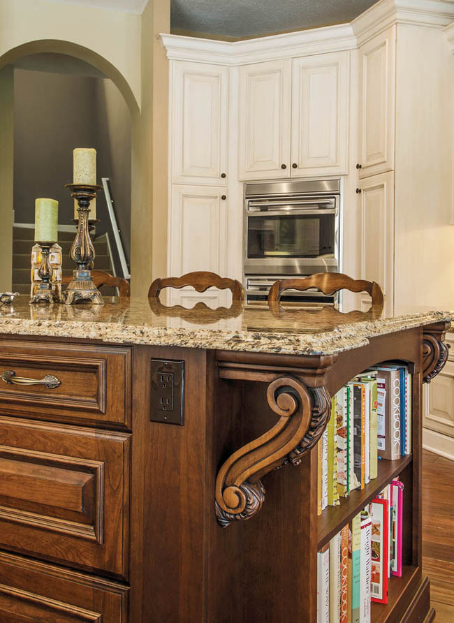 Kitchen island flaunts an antique-inspired stain