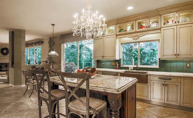 Kitchen island lighting gets a dramatic flair