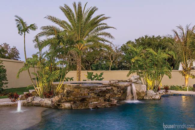 Lagoon pool dominates a back yard