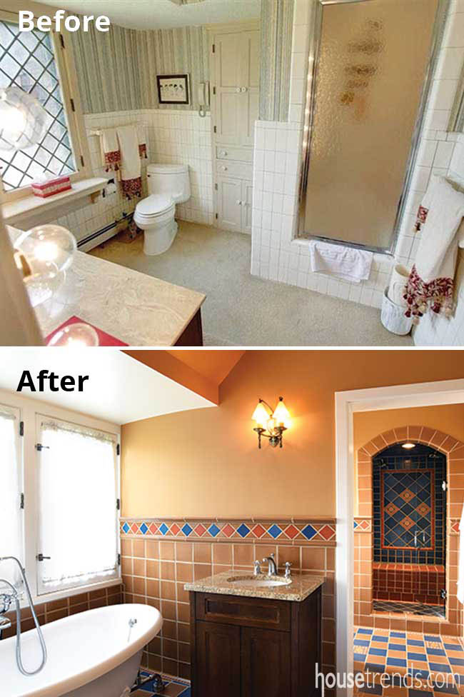 TIle adds color to a master bathroom remodel