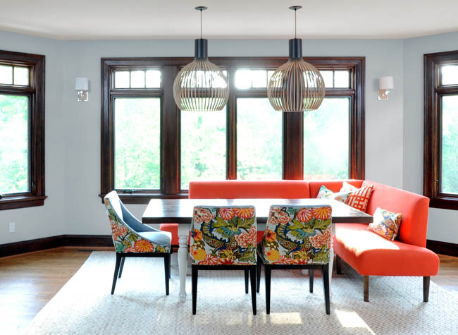 Dining room proudly boasts a modern twist