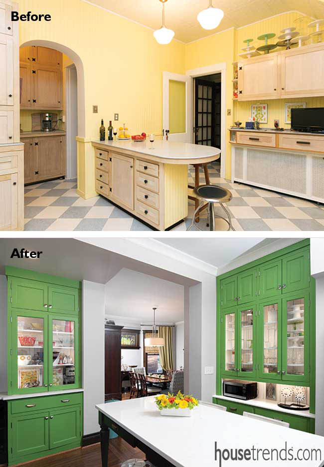 Kitchen remodel removes portion of a wall
