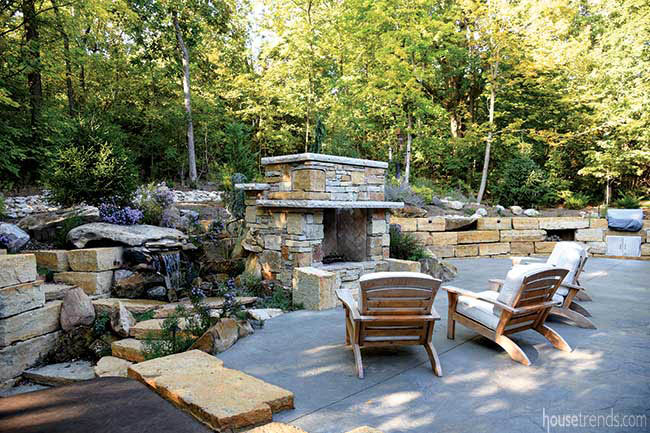 Stone makes a strong statement in a back yard