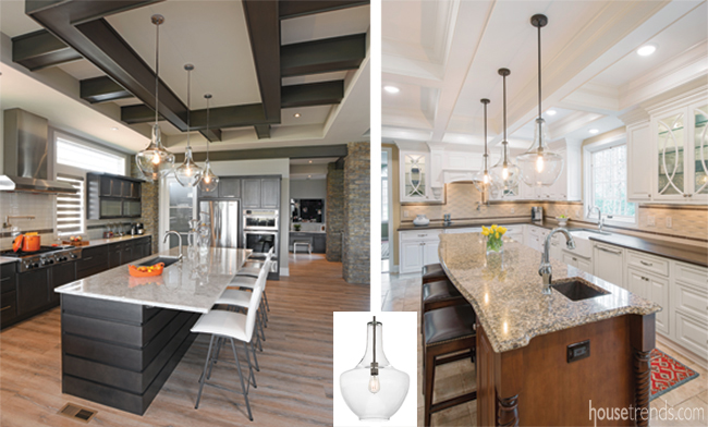 Two kitchens feature the same lights
