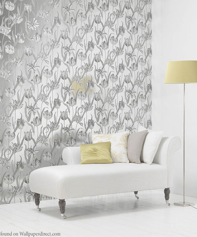 Metallic wallpaper adds a little shine