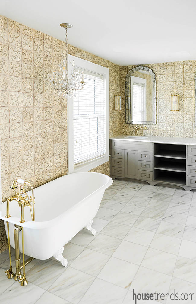 Cement wall tiles add interest to a master bath