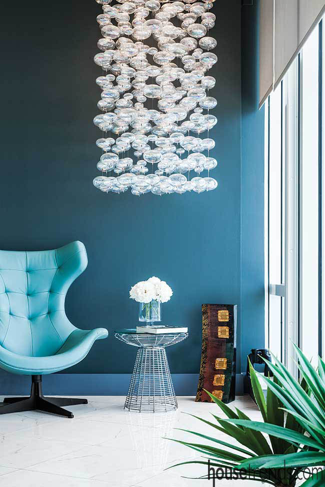 Chandelier makes a statement in a living room