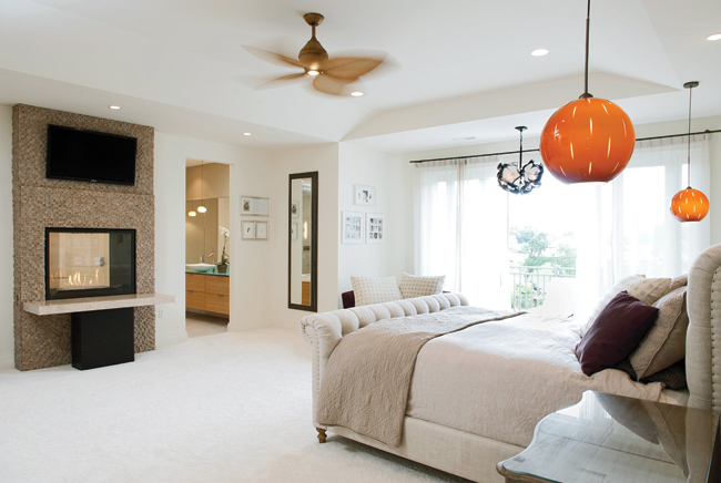 Light fixtures add color to a neutral room