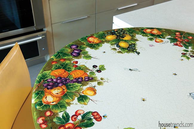 Decorative table adds color to a kitchen