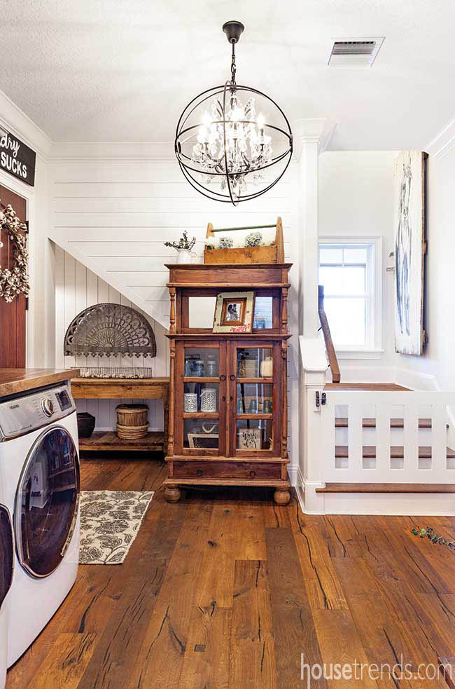 Oversized laundry room with a farmhouse design