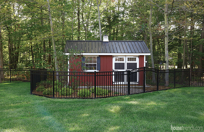Shed blends in with new back yard design