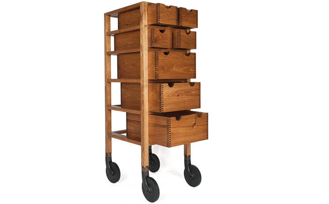Dresser on wheels with open frame look