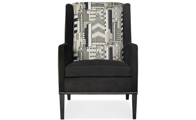 Cityscape print adds interest to a chair