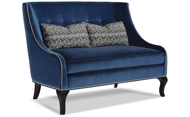 Blue settee with a traditional feel