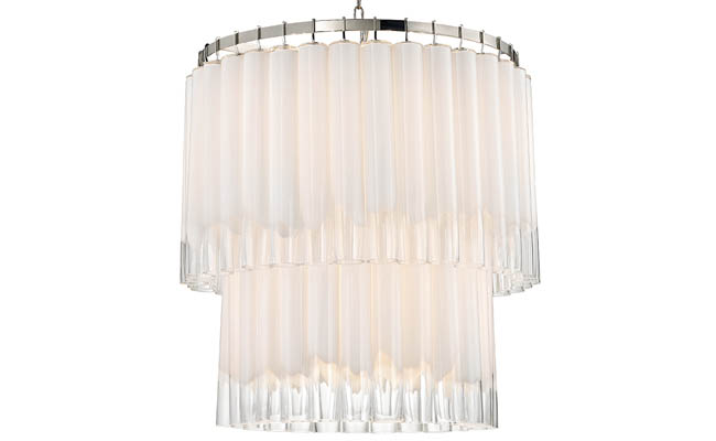 Chandelier made of frosted glass