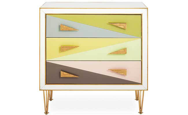 Chest of drawers painted with fun colors