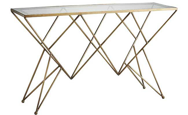 Antique brass finish on a console table