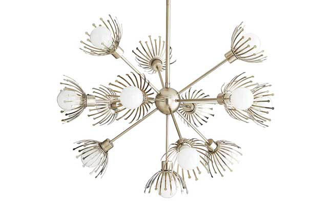 Silver finish coats a chandelier